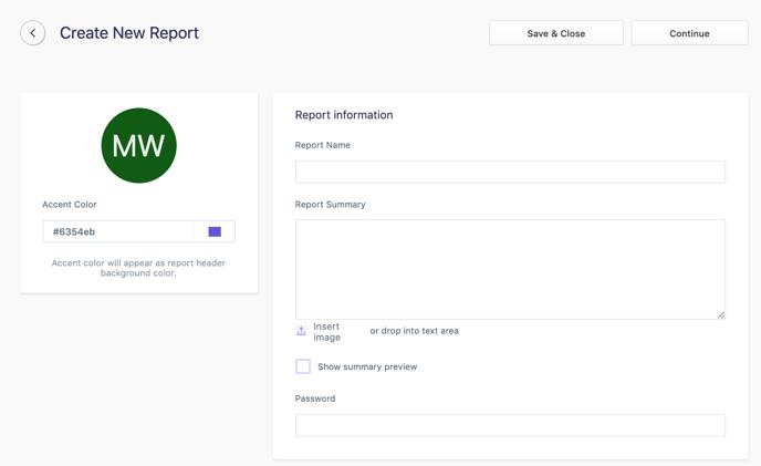Create New Report