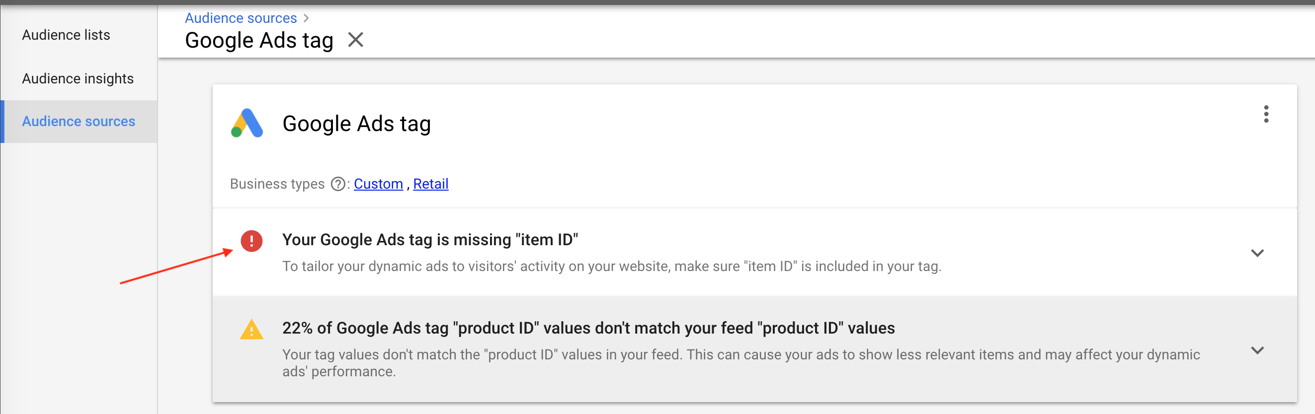 "22% Google Ads Tag ""product ID"" values don't match your feed ""product ID"" values"